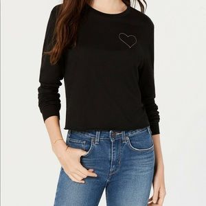 Carbon Copy Embroidered Heart Top